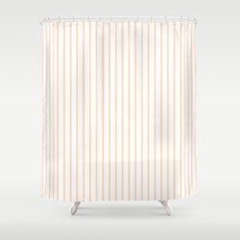 Soft Peach Pinstripe on White Shower Curtain
