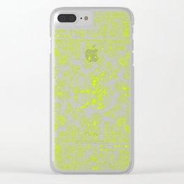 Mayan Spring GREEN / Ancient Mayan hieroglyphics mandala pattern Clear iPhone Case