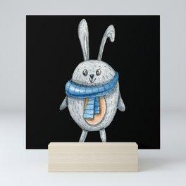 Cute rabbit with scraf Mini Art Print