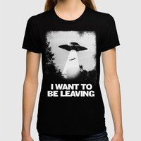 I WANT TO BE LEAVING Womens Fitted Tee Black MEDIUM