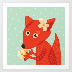 Cute Fox And Flowers Art Print
