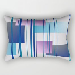 Geometry Design with Stripes and Square blue Rectangular Pillow