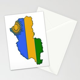 Rwanda Map with Rwandan Flag Stationery Cards