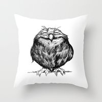 dragon ball z Throw Pillows featuring Owl Ball by Dave Mottram