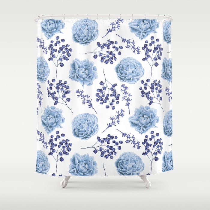 Sky Blue Roses Shower Curtain