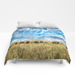 Grazing - Bison Graze Under Big Sky on Oklahoma Prairie Comforters