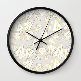 Paper Airplanes Faux Gold on Grey Wall Clock