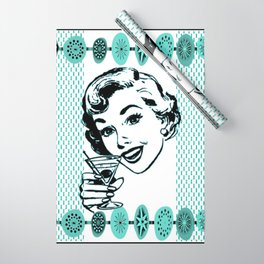 Mid-Century Modern Art Cocktail Teal Wrapping Paper