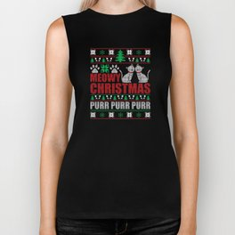Meowy Christmas Ugly Christmas Sweater Funny Cat T-Shirt Biker Tank