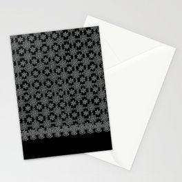 Charcoal and Black Spanish Lace Pattern Stationery Cards