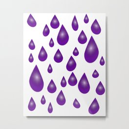 Purple Raindrops Metal Print