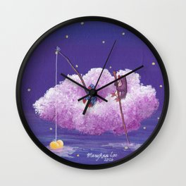 Penguins Sail Through the Stars on Their Cloud of Love Wall Clock