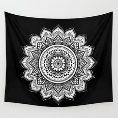 black and white mandala Wall Tapestry