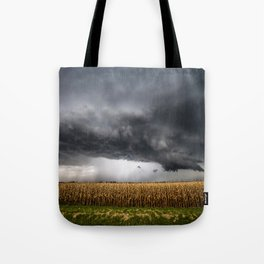 Corn Field - Storm Over Withered Crop in Southern Kansas Tote Bag