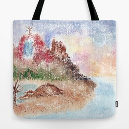 Mysterious Island Watercolor Illustration Tote Bag