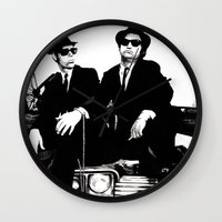 blues brothers Wall Clocks featuring Blues Brothers by DmDan