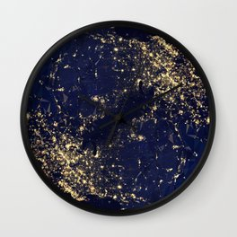 Gold Map abstraction Wall Clock