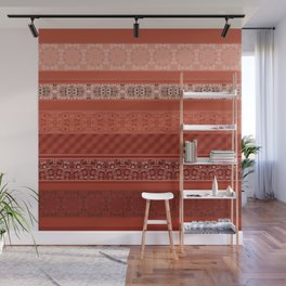 Orange striped patchwork Wall Mural