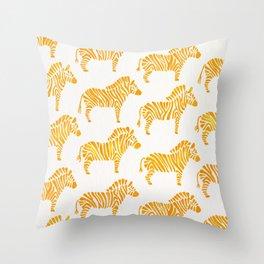 Zebras – Yellow Palette Throw Pillow