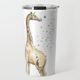 Young Giraffe with Butterflies Travel Mug