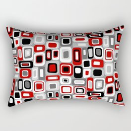 Mid Century Modern Squares and Rectangles // Red, Gray Black, White Rectangular Pillow