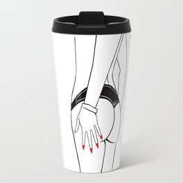 Beach fashion, minimalistic illustration. Cute female torso in panties, hand with red manicure. Travel Mug