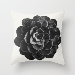 Succulent Black Marble Throw Pillow