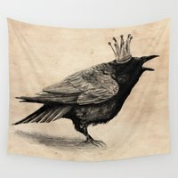 raven Wall Tapestries featuring Raven by Anna Shell