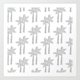 Palm Tree Pattern Grey Art Print