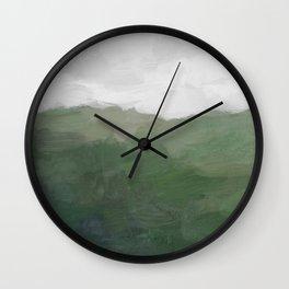 Green Grass Hills Nature Pasture Gray Sky Clouds Abstract Nature Farmhouse Painting Art Print Wall Decor  Wall Clock