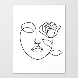 Beauty woman face with rose. Abstract minimal fine art. One line drawing. Canvas Print