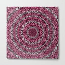 Pink colors mandala Sophisticated ornament Metal Print