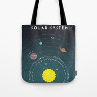 solar system Tote Bags featuring Solar System by scarriebarrie