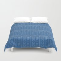 blueprint Duvet Covers featuring TARDIS Blueprint Pattern - Doctor Who (Version 2) by Corrie Jacobs