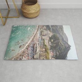 Amalfi Coast Landscape Nature Print | Summer Holiday In Italy Travel Photography Art | Amalfi Village Beach In Soft Colors Photo Rug