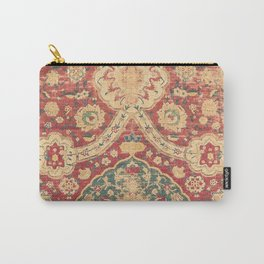 Peonies Kashan I // 16th Century Distressed Colorful Red Tan Light Blue Ornate Accent Rug Pattern Carry-All Pouch