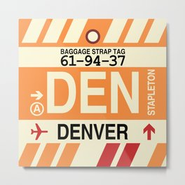 DEN Denver • Airport Code and Vintage Baggage Tag Design Metal Print