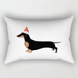 Christmas Dachshund Sneaking Santa's Hat Rectangular Pillow