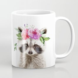 Baby Raccoon with Flower Crown Coffee Mug