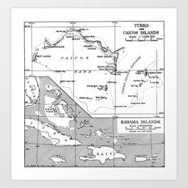 Vintage Map of Turks and Caicos & Bahamas Art Print
