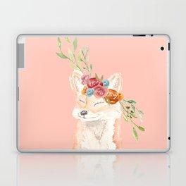 Watercolor fox flower crown peach Laptop & iPad Skin