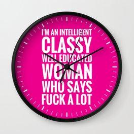 INTELLIGENT, CLASSY WOMAN (Magenta background) Wall Clock