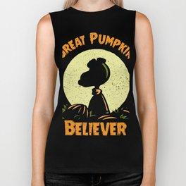 Great Pumpkin Believer - Pumpkin Shirt - Funny Pumpkin Halloween Costume Biker Tank
