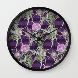 Thistle violet flowers pattern Wall Clock