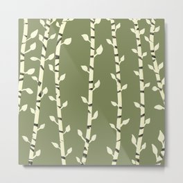Birch branches olive green Metal Print