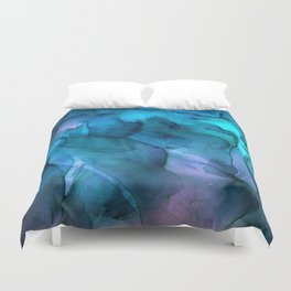 Abstract Ink Blue Turquoise Pink Marble Duvet Cover