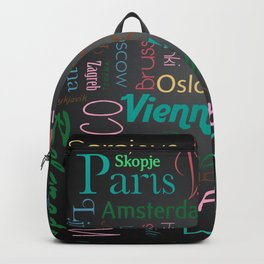 European capitals on black Backpack