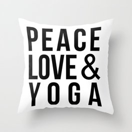 Peace Love & Yoga Throw Pillow