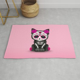 Cute Pink Day of the Dead Kitten Cat Rug