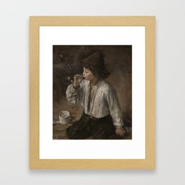 Heyerdahl, Hans (1857-1913) Boy blowing bobbles (1882) Framed Art Print